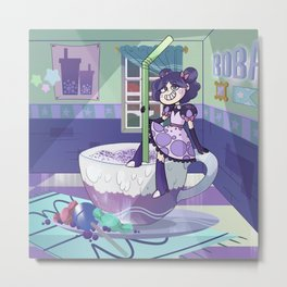 Taro Bubble Tea Gal Metal Print
