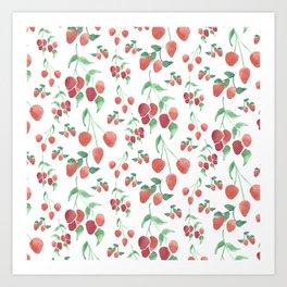 Watercolor Strawberries Art Print