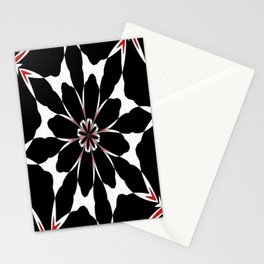Bizarre Red Black and White Pattern 4 Stationery Cards