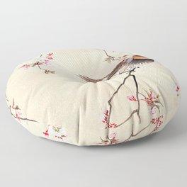 Peach Tree Robin Floor Pillow