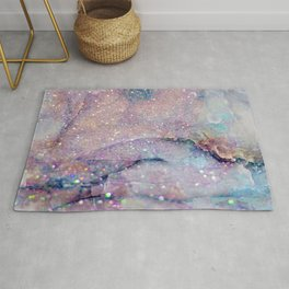 Glitter-Pink and Soft Aqua Marbled Pattern Rug