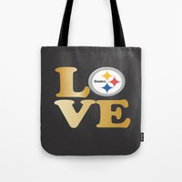 steelers Tote Bags featuring Pittsburgh Steelers_Love by Doodles & Designs by NK