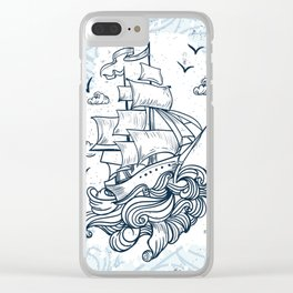 Hand drawn boat with waves background Clear iPhone Case
