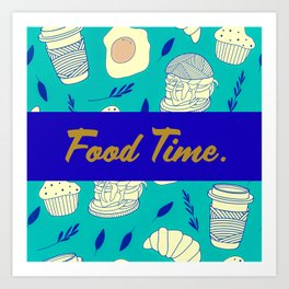 Blue Food Time Pattern Art Print