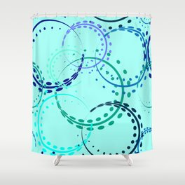 Pastel curls and circles of blue shades on the azure background. Shower Curtain