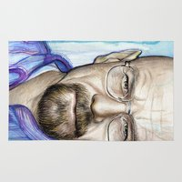 walter white Area & Throw Rugs featuring Walter White Portrait by Olechka