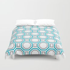 Polygonal pattern - Turquoise blue and Gray Duvet Cover