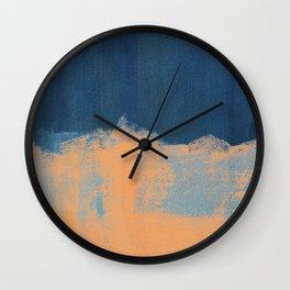 Summer Beach Abstract Orange Blue #painting #decor #society6 Wall Clock