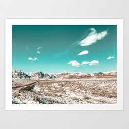 Vintage Desert Clouds // Teal Blue Skyline Mountain Range in the Mojave after a Snow Storm Art Print