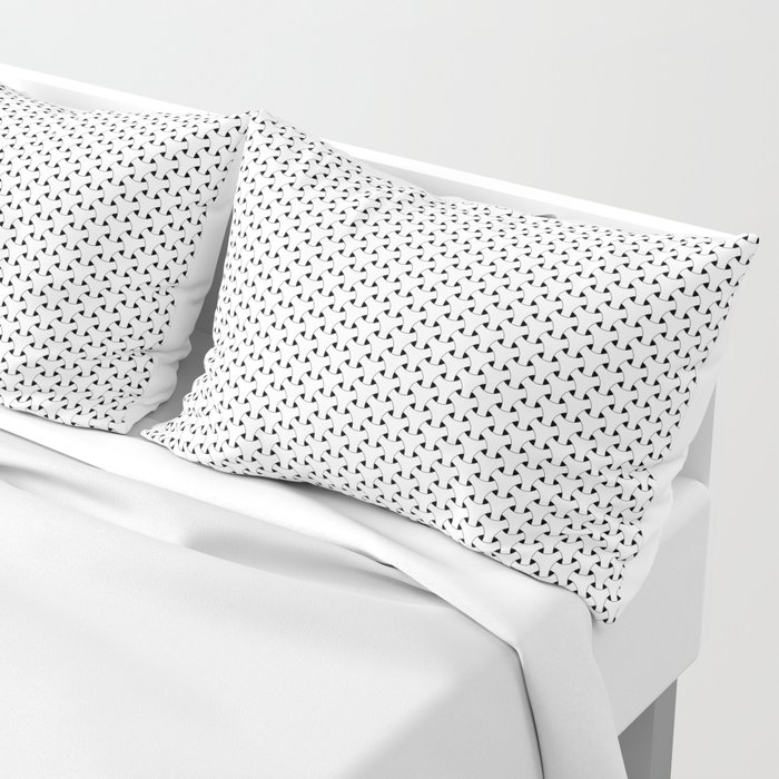 Black and White Basket Weave Shape Pattern - Graphic Design Pillow Sham
