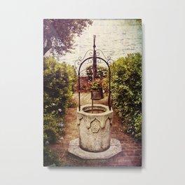 Antique Italian Well in a Garden at Lake Garda Metal Print