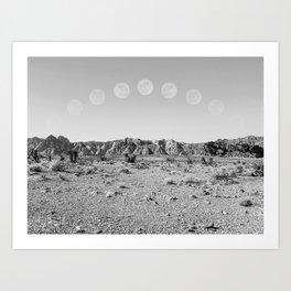 Desert Moon Ridge B&W // Summer Lunar Landscape Teal Sky Red Rock Canyon Rock Climbing Photography Art Print