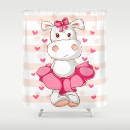 happy hippo Shower Curtain