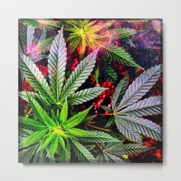 Galactic Pot Leaves Metal Print