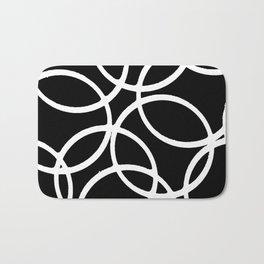 Interlocking White Circles Artistic Design Bath Mat