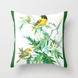 Baltimore Oriole Birds and White Oak Tree Throw Pillow