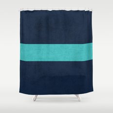 classic - navy and aqua Shower Curtain