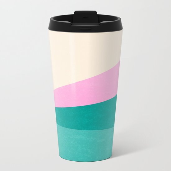 Stripe XIV Pink Summer Sunrise Metal Travel Mug