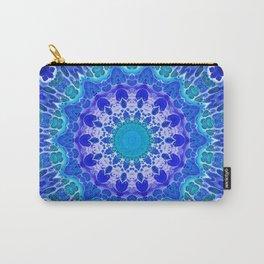 Azure Flower Mandala Carry-All Pouch