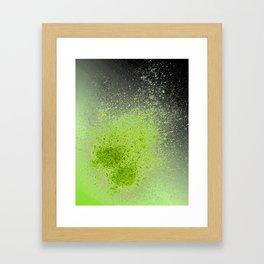 Neon Green and Black Spray Paint Splatter Framed Art Print