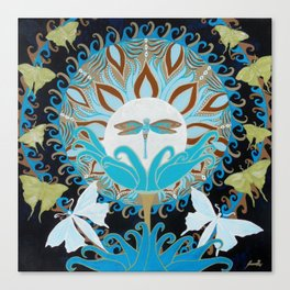 Journey of the Luna Moth Art Nouveau Mandala by Jeanne Fry Canvas Print
