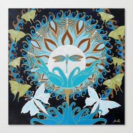 Journey of the Luna Moth Art Nouveau Mandala by Jeanne Fry Canvas Print