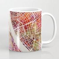 budapest Mugs featuring Budapest  by MapMapMaps.Watercolors