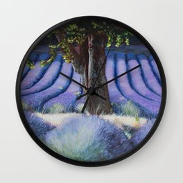 Lavender Field with Apple Tree Wall Clock