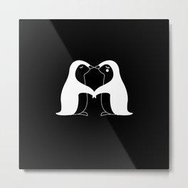 Penguin Couple Lovers Gift Idea Design Motif Metal Print