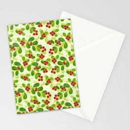 Cranberry Fruit Pattern on Green Stationery Cards