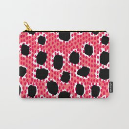 Jenjo - Modern pattern print coral black and white bold pattern cell phone case animal spots girly Carry-All Pouch