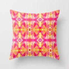 Tie Dyed Lips Kaleidoscope Throw Pillow