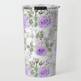 Purple Roses, Shabby Floral Travel Mug