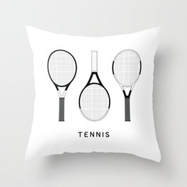 Tennis Rackets set illustrations Throw Pillow