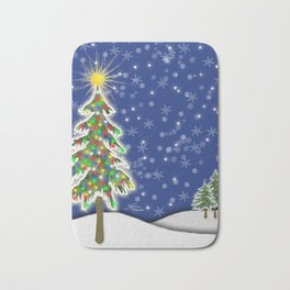 Lighted Christmas Tree at Night with Snowflakes Bath Mat