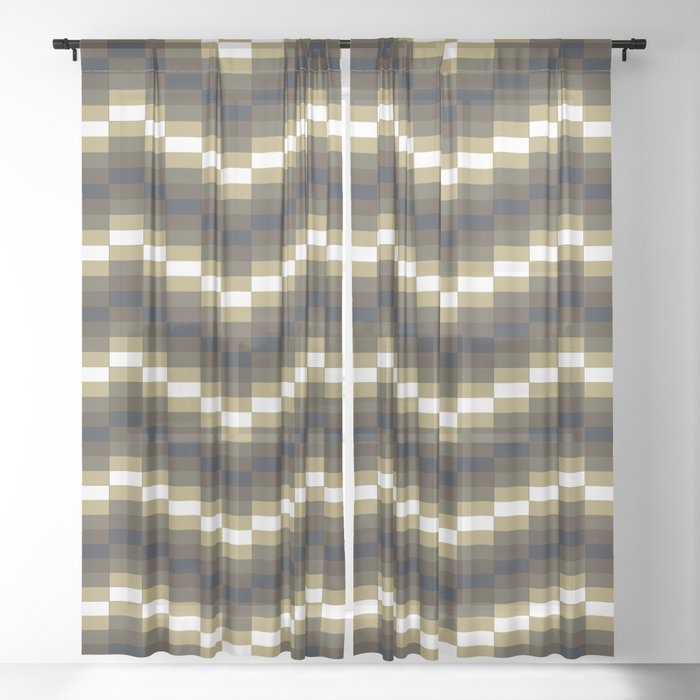 Block Wave Illustration Artwork Sheer Curtain