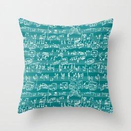 Hand Written Sheet Music // Teal Throw Pillow