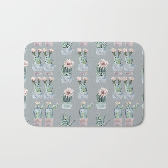 Potted Cactus Plants Gray Bath Mat