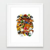 mario bros Framed Art Prints featuring Super Mario Bros. Battle by Magik Tees