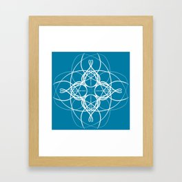 Blue White Swirl Framed Art Print