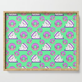 Cute sweet adorable Kawaii fitness bunnies exercising on a yoga mat, yummy happy funny pink donuts with sprinkles light pastel teal green pattern design Serving Tray