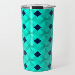 Graphic stylish pattern with dark squares and light blue rhombuses in a checkerboard pattern. Travel Mug