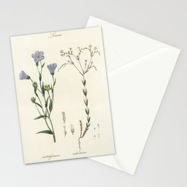 Flax (Linum) illustration from Medical Botany (1836) by John Stephenson and James Morss Churchill. Stationery Cards