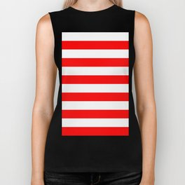 Horizontal Stripes - White and Red Biker Tank