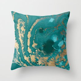 Fluid Gold Throw Pillow