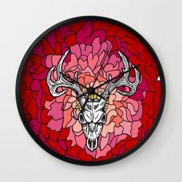 Deer Skull on Red Flower Wall Clock