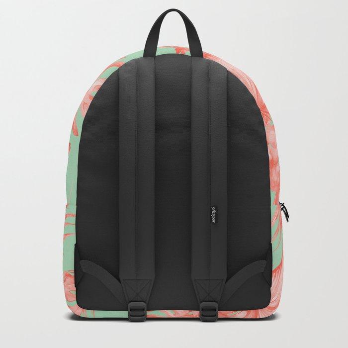 Dreaming of Hawaii Coral Pink + Pastel Green Backpack
