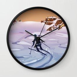 Skiing on Mars Wall Clock