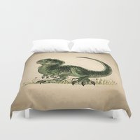 trex Duvet Covers featuring Baby T-Rex by River Dragon Art