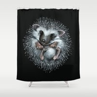 hedgehog Shower Curtains featuring hedgehog by Kristina Gufo